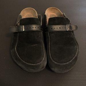 Birkenstock Suede Clogs Size 8 ~ 39 Black Leather
